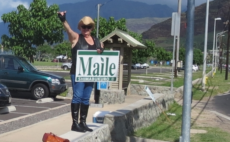Cathy Outland has been actively campaigning for Maile for many years. She is Maile's most dynamic and entertaining sign waver! She makes roadside campaigning fun for everyone.