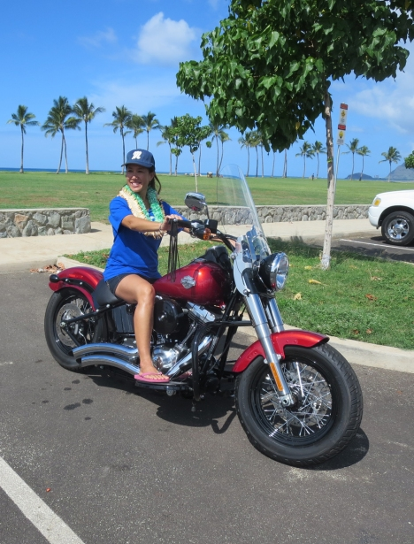 Maile on Cathy's Harley.