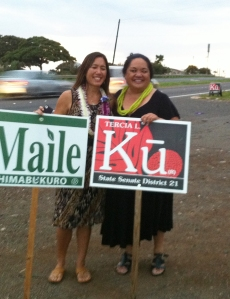 Maile and Tercia! Campaigning with aloha!